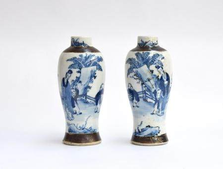 A pair of Chinese blue and white crackle glaze baluster vases, with incised Chenghua character