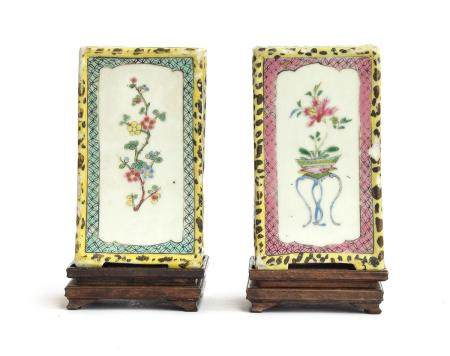 A pair of Chinese famille jaune rectangular brush pots, each panel decorated with a spray of