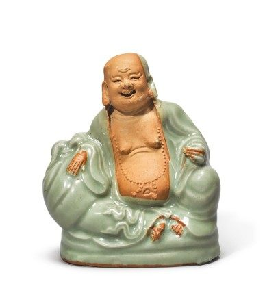 A 'LONGQUAN' CELADON-GLAZED FIGURE OF BUDAI,  YUAN / MING DYNASTY