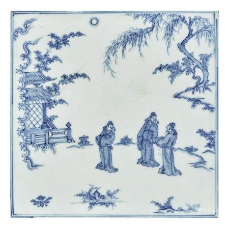 A RARE BLUE AND WHITE 'FIGURAL' PLAQUE,  MING DYNASTY, 15TH CENTURY