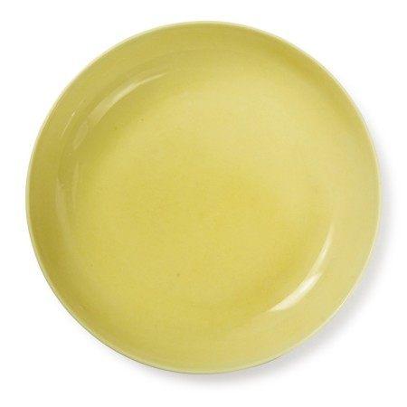 A YELLOW-GLAZED DISH, JIAJING MARK AND PERIOD