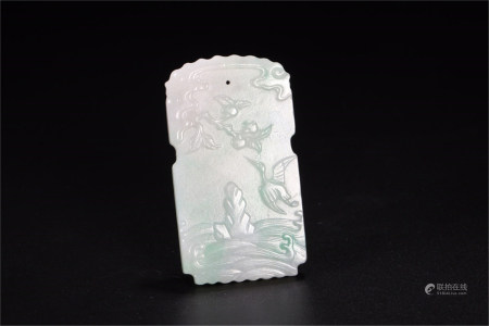 A Chinese Carved Jadeite Pendant