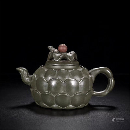 A Chinese Carved Yixing Clay Teapot