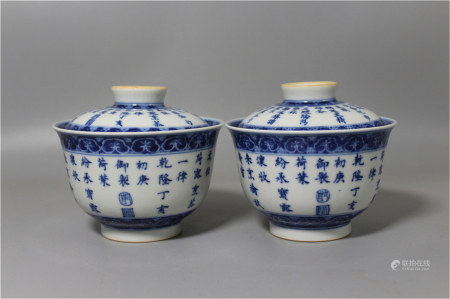 A Pair of Chinese Blue and White Porcelain Cups