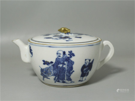 A Chinese Blue and White Porcelain Teapot