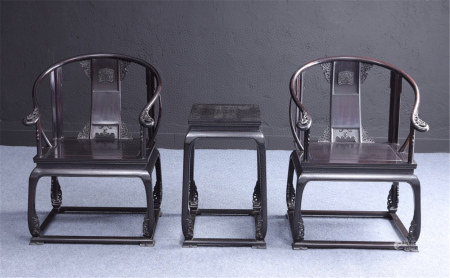 A Set of Chinese Carved Hardwood Chairs and A Table