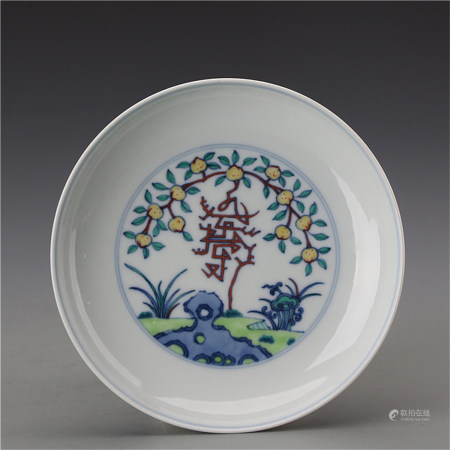 A Chinese Dou-Cai Porcelain Plate