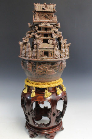 Chinese Pottery Funerary Urn on Wood Stand