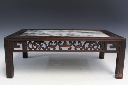 Chinese Marble Top Hardwood Stand