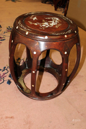 Chinese Rosewood Drum Stool with Mother-of-pearl Inlay.