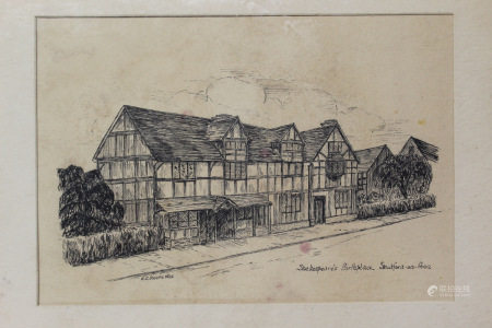 Shakespears Birthplace, E.C.Reepe, 1935. Etching.
