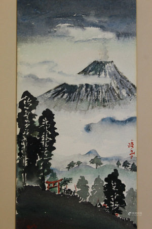 Asian Watercolor Painting, Signed.