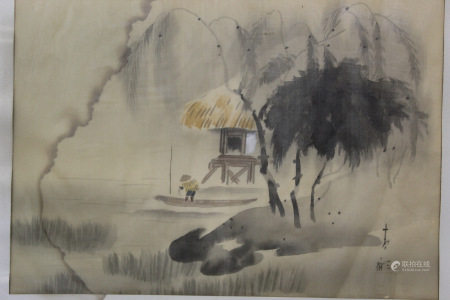 Asian Watercolor Painting on Silk, Signed.