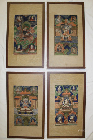 Set of Four Tibetan Buddhist Paintings