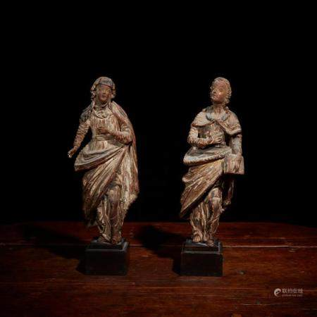 Two French late Gothic polychrome walnut figures of the Virg