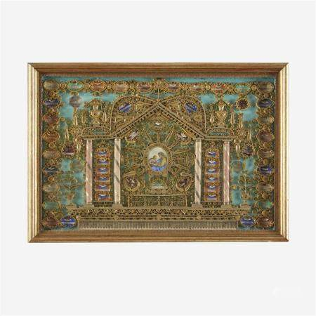 A large Italian quill work reliquary depicting Saint Anne an