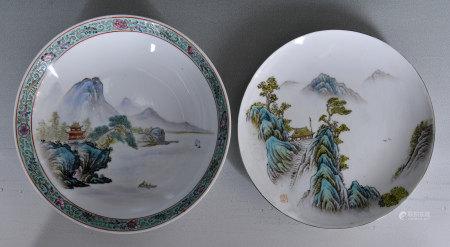 70年代 粉彩山水盤2件