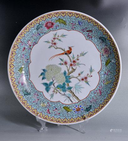 70年代 粉彩花鳥盤