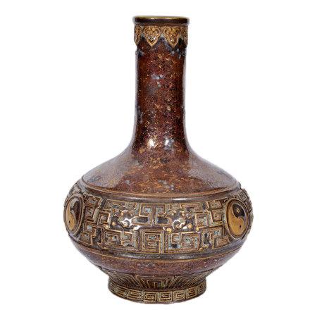 70年代 古銅彩八卦瓶