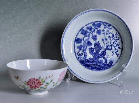 粉彩碗及青花鬆梅盤