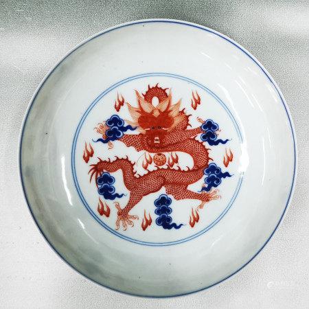 青花礬紅龍紋盤