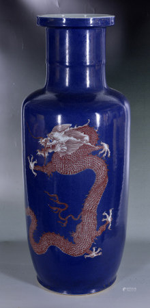 祭蘭釉龍紋筒瓶