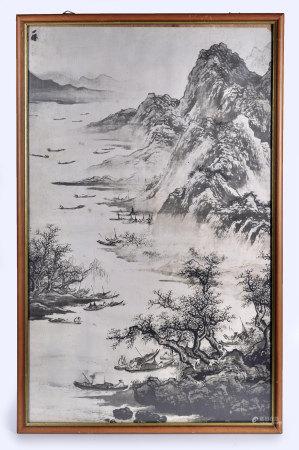 吳小仙(款)山水(帶框)