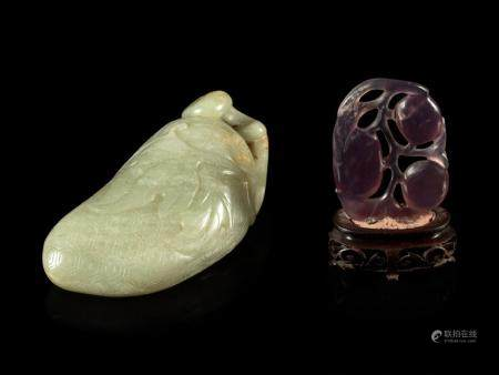 A Celadon Jade 'Lychee' Carving and An Amethyst 'Fruit' Pend