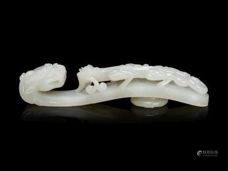 A Large and Finely Carved White Jade 'Chilong' Belt Hook