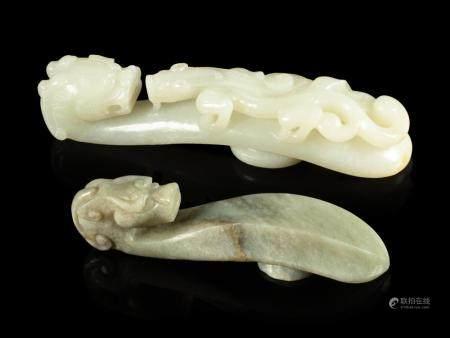Two Jade 'Chilong' Belt Hooks