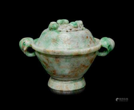 An Apple Green and Pale Celadon Jadeite Covered Bowl