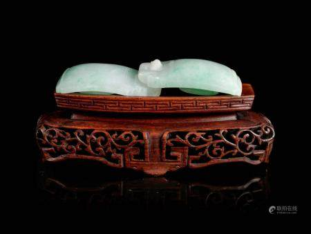 An Apple Green and Pale Celadon Jadeite Two-Part Belt Buckle