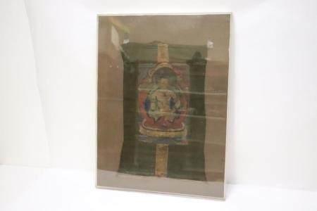 18th/19th c. Tibetan thangka in Lucite display case