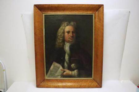 An 18th/19th c. o/c painting with burl walnut frame