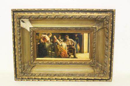 19th/20th c. oil on panel painting with gilt frame