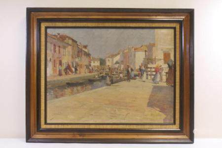 19th/20th century oil on canvas painting, signed