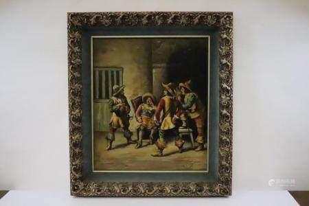 Italian oil on wood panel painting