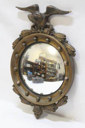 Antique gilt wood mirror with eagle