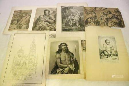 Lot of antique religious etching, prints