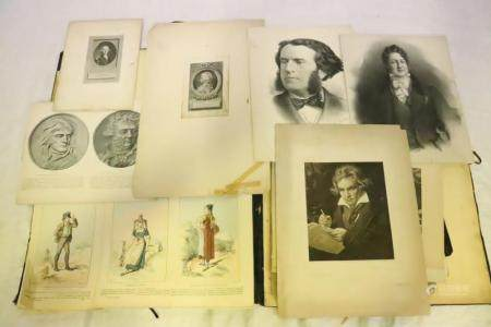 Lot of antique etchings, books