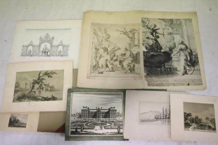 Lot of antique etchings, prints