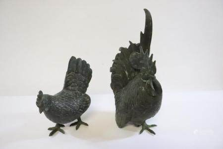 Pair antique metal sculpture of rooster and hen