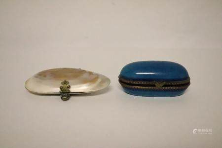 Victorian MOP trinket box and a French enamel box
