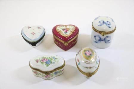 5 framed hand painted Limoge trinket boxes