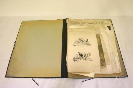 Lot of antique etchings, prints, most large examples
