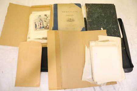 Large lot of of antique etchings, prints