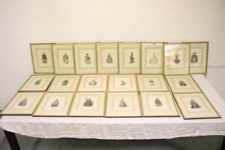 20 framed etchings depicting historical figures