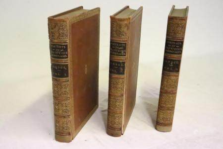3 leather bound large books with gilt edge, c1821