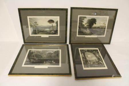 4 framed antique etchings