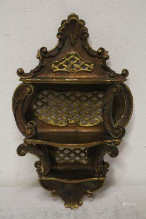Antique French painted wood wall shelf